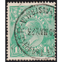 1&1/2d Green, Single Wmk, variety 13R60, 1st State, GU