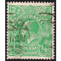 1/2d Green, Single Wmk, variety 1R42, GU