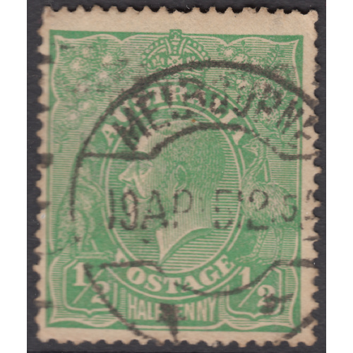 1/2d Green Single Wmk, var 1R42 GU