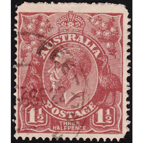 1&1/2d Bright Red-Brown, Single Wmk, var 12L38, 2nd State, GU
