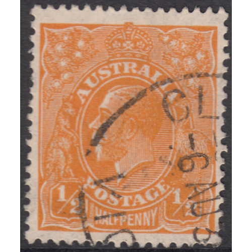 1/2d Orange, Small Multi Wmk, Perf 13, var 9R21, FU
